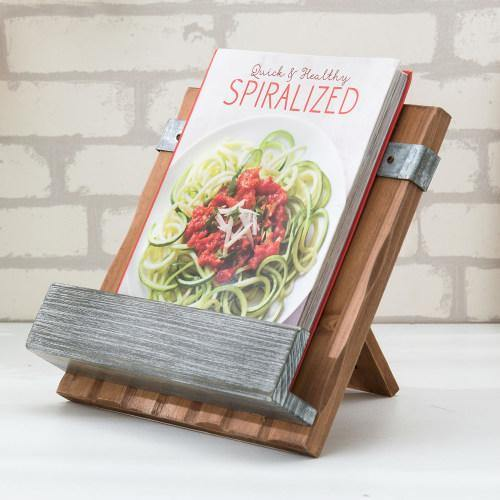 Rustic Burnt Wood and Galvanized Metal Cookbook Stand-MyGift