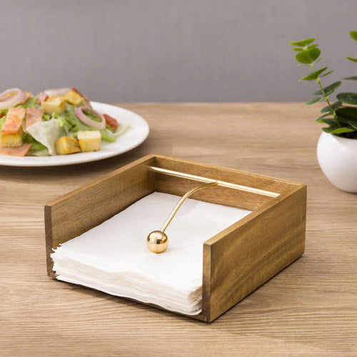Premium Acacia Wood Napkin Holder w/ Brass Tone Weighted Arm