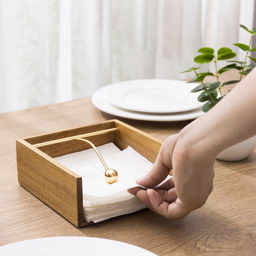 Premium Acacia Wood Napkin Holder w/ Brass Tone Weighted Arm-MyGift