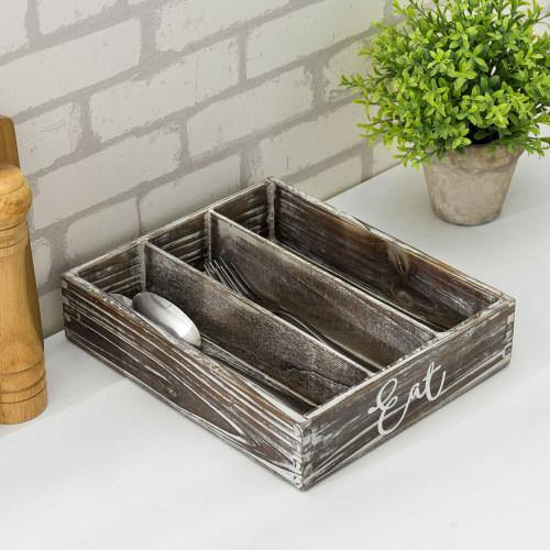 Rustic Torched Wood EAT Design Utensil Organizer