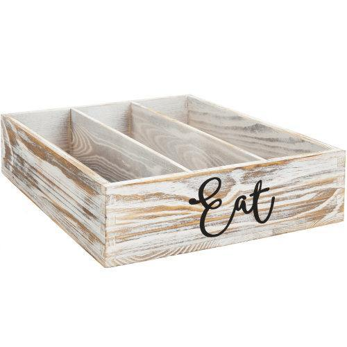 Shabby Whitewashed Wood Utensil Organizer - MyGift
