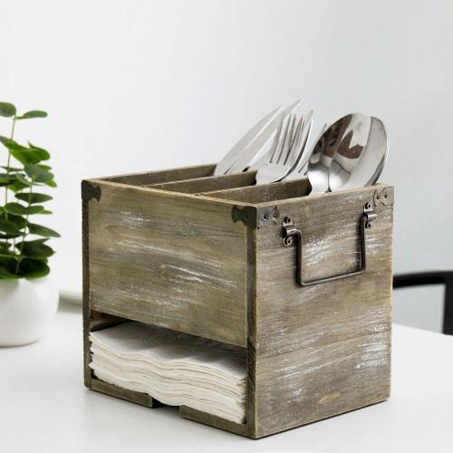 Rustic Distressed Barnwood Utensil & Napkin Caddy - MyGift