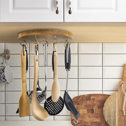 Under the Cabinet Utensil Hanger, Burnt Brown Wood