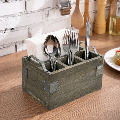 Vintage Reclaimed Style Gray Wood Utensil and Napkin Holder w/ Galvanized Metal Accents