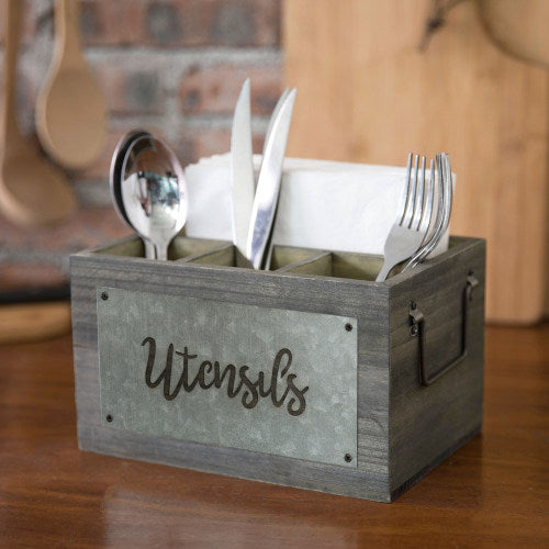 Dark Gray Wood and Galvanized Metal Utensil Holder