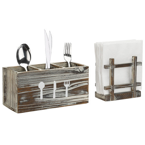 Torched Wood Napkin Holder & Utensil Caddy, 2 Piece Set