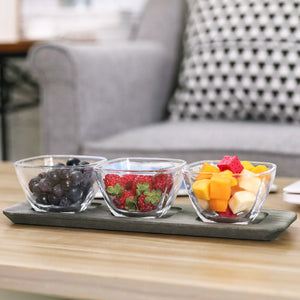 Gray Wood Serving Condiment Set w/ 3 Clear Glass Bowls