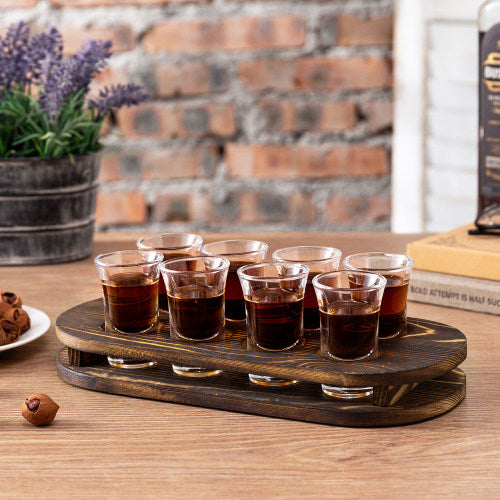 Dark Brown Burnt Solid Wood Shot Glass Tray w/ 8 Shot Glasses