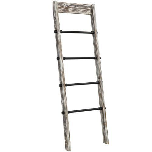 Rustic Torched Wood and Industrial Black Metal Pipe Ladder