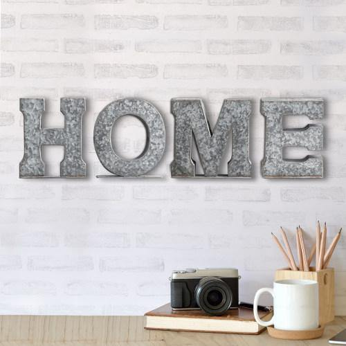 Galvanized Silver Metal Cutout Letters Sign HOME