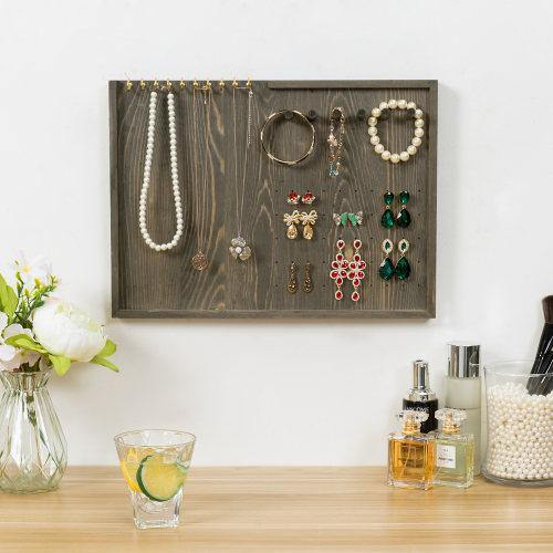 Vintage Gray Wood Jewelry Wall Organizer
