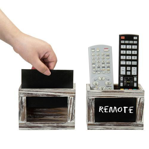 Torched Wood Remote Control Holder w/ Chalkboard, Set of 2 - MyGift