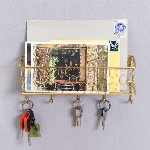Gold Metal Mail Sorter with Chicken Wire Mesh Basket & Key Hooks - MyGift
