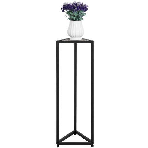 Triangular Torched Wood & Black Metal Stand, 36-inch-MyGift