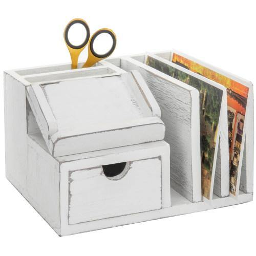 Vintage White Wood Desk Organizer with Memo Pad Holder - MyGift