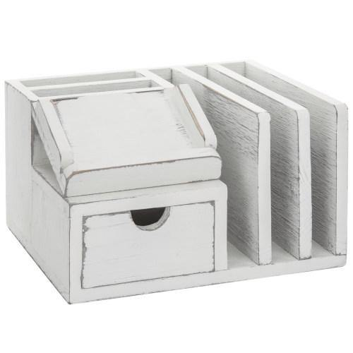 Vintage White Wood Desk Organizer with Memo Pad Holder-MyGift