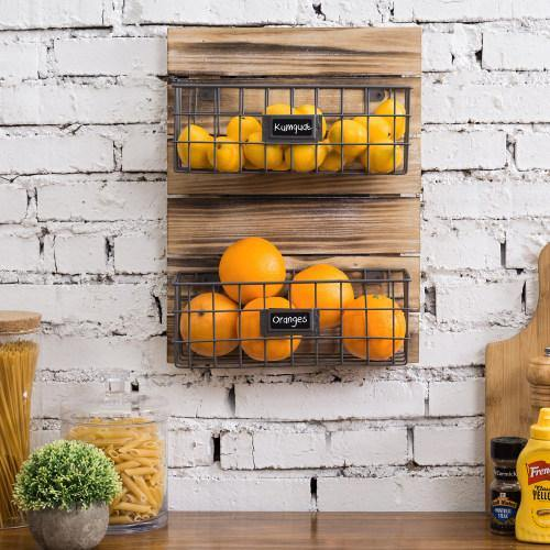 Rustic Wood & Metal Wire Wall-Mounted Basket Rack w/ Label Holders