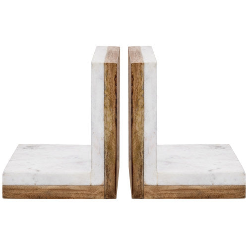 Premium White Marble & Mango Wood Bookends, Set of 2