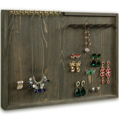 Vintage Gray Wood Jewelry Wall Organizer-MyGift