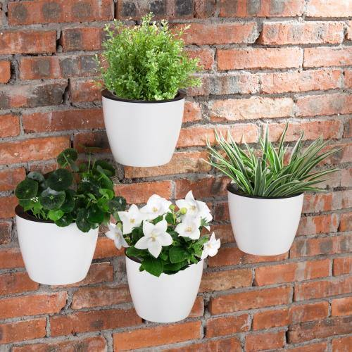 Wall Mounted Self Watering White Planter Pots, Set of 4