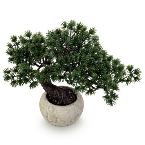 Artificial Bonsai Tree w/ Round Gray Paper Pulp Planter-MyGift