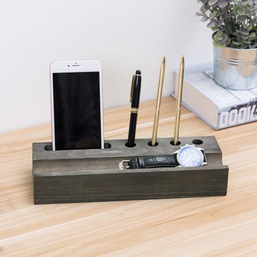 Vintage Gray Wood Office Organizer with Smartphone Holder - MyGift