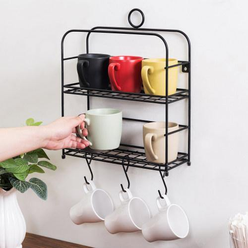 Wall Mounted Black Metal Mug/Cup Organizer Shelf-MyGift