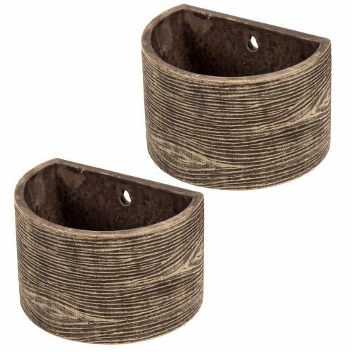 Wall Mounted Brown Wood Design Clay Planters, Set of 2 - MyGift