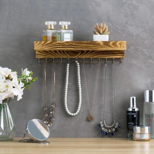 Rustic Burnt Brown Wood Jewelry Hanger with Hooks