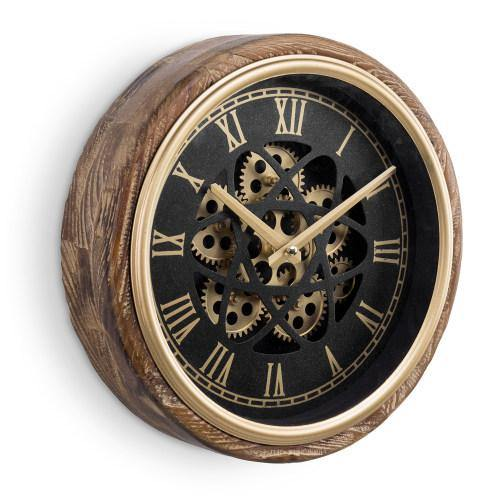 Burnt Wood & Brass Tone Wall Clock with Exposed Mechanical Gears-MyGift