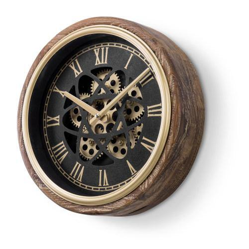 Burnt Wood & Brass Tone Wall Clock with Exposed Mechanical Gears - MyGift