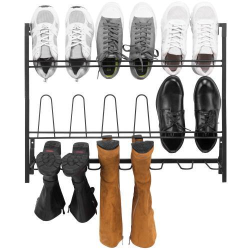 Wall Mounted Black Metal Wire 9-Pair Boot & Shoe Rack - MyGift