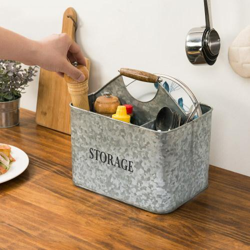 Rustic Galvanized Silver Metal Kitchen Organizer Caddy