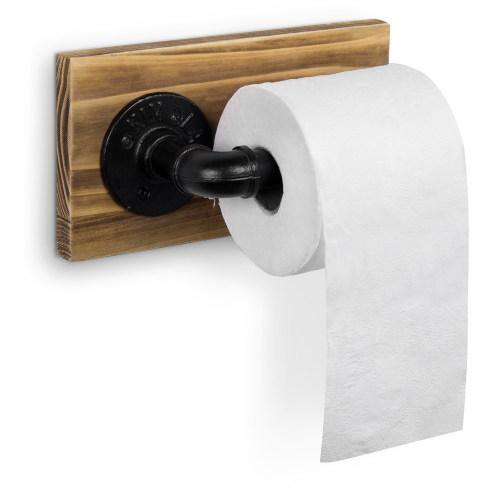 Brown Wood and Industrial Pipe Toilet Paper Holder