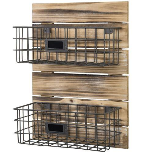 Rustic Wood & Metal Wire Wall-Mounted Basket Rack w/ Label Holders - MyGift