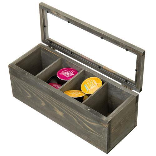 Gray Wood Tea and Coffee Organizer Box with Clear Lid - MyGift