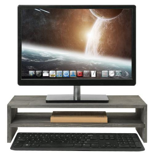 Rustic Barnwood Gray Wood Computer Monitor Stand