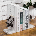 Cast Iron Elk Head and Whitewashed Wood Bookends, Set of 2-MyGift