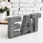 Galvanized Silver Metal Cutout Letters Sign EAT