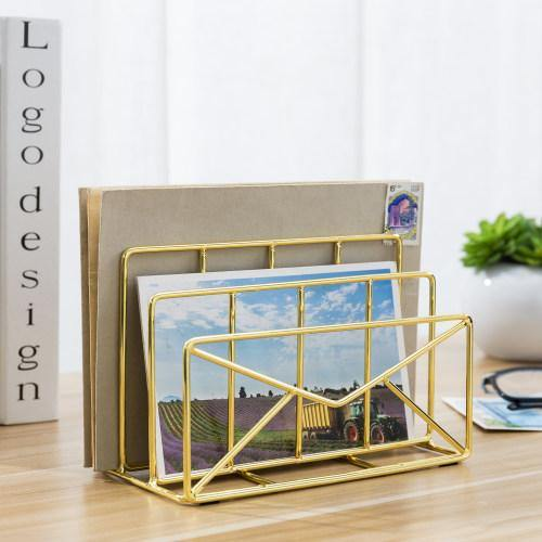 Modern Envelope-Shaped Brass Plated Metal Mail Sorter