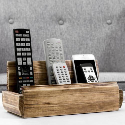 Rustic Solid Wood Tabletop Remote Control Organizer