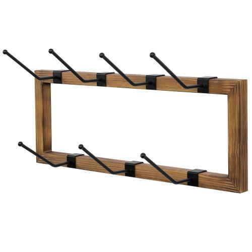 Rustic Burnt Wood Mug Rack with Removable Matte Black Metal Hooks - MyGift