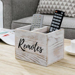 Shabby Whitewashed Wood Remote Control Organizer