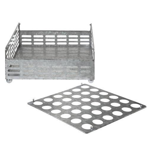 Rustic Silver Galvanized Metal Eggs Tray and Storage Basket-MyGift