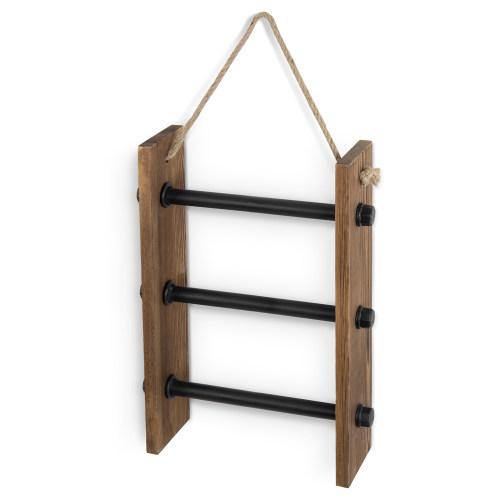 Wall-Hanging Industrial Pipe & Burnt Wood Hand Towel Ladder - MyGift