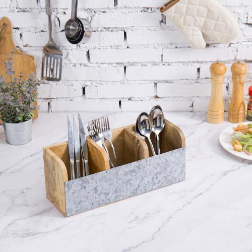 Galvanized Metal & Mango Wood Utensil Organizer