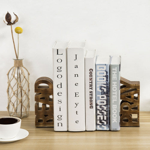 Burnt Brown Wood Read & Pray Bookends, Set of 2
