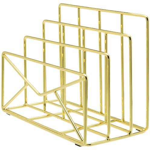 Modern Envelope-Shaped Brass Plated Metal Mail Sorter-MyGift