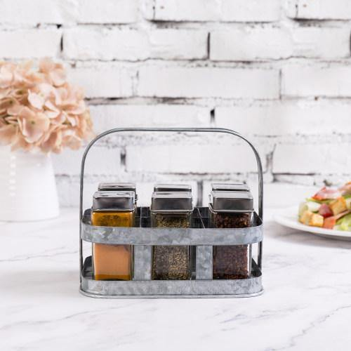 Galvanized Silver Metal Spice/Condiment Holder
