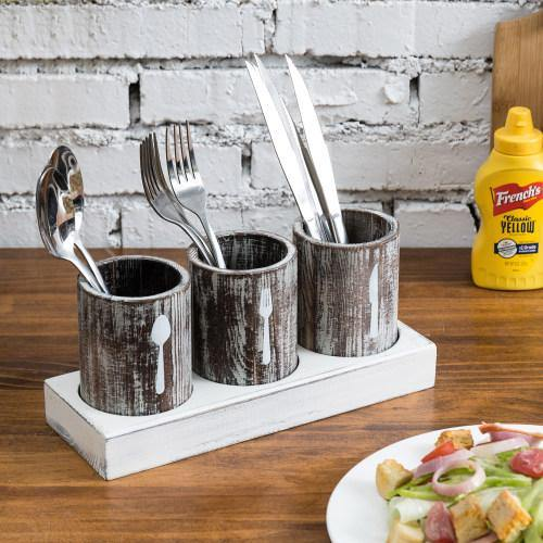 Rustic Torched Wood Silverware Organizer-MyGift
